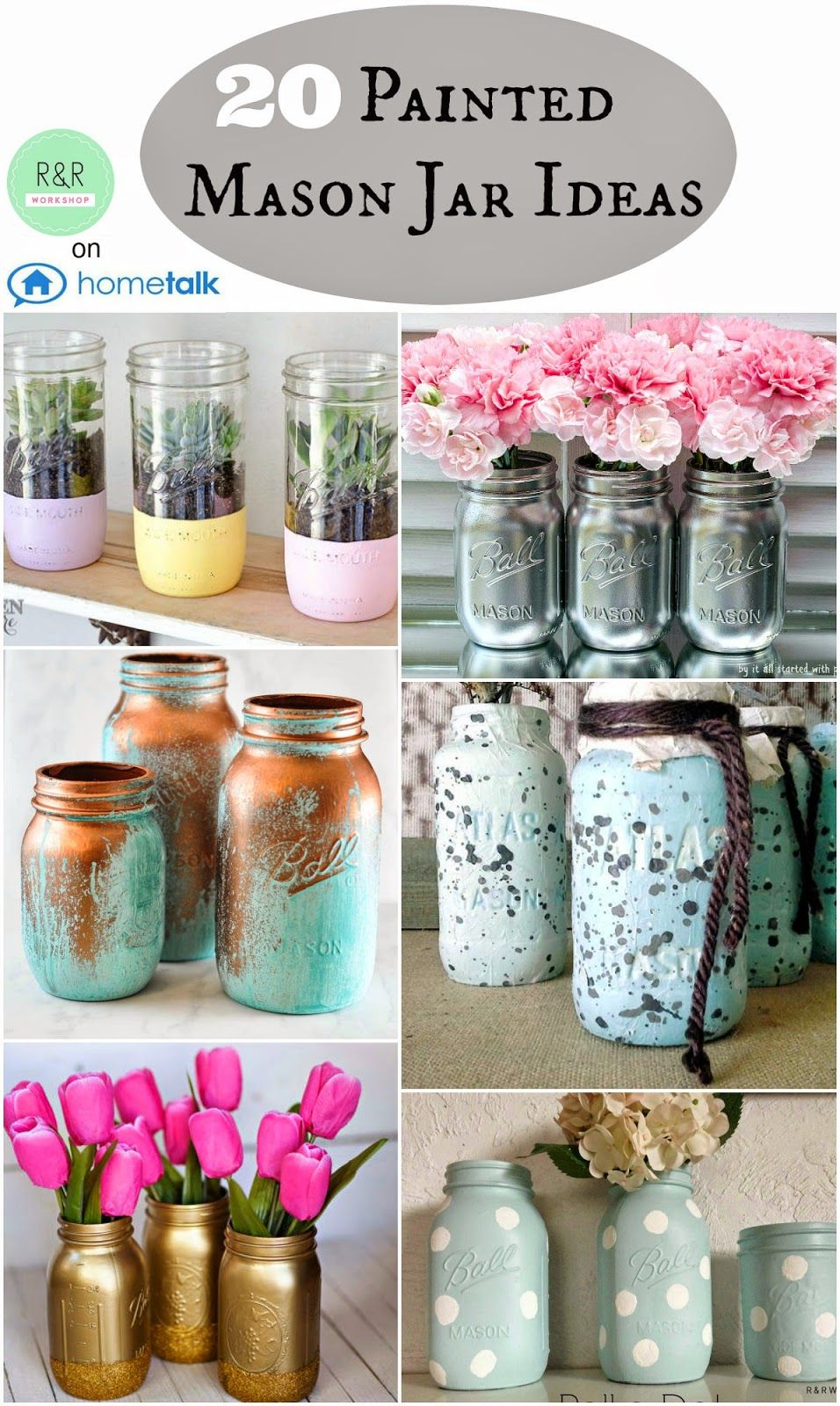 Painted mason jar ideas jars copper and turquoise for Crafts to make with glass jars