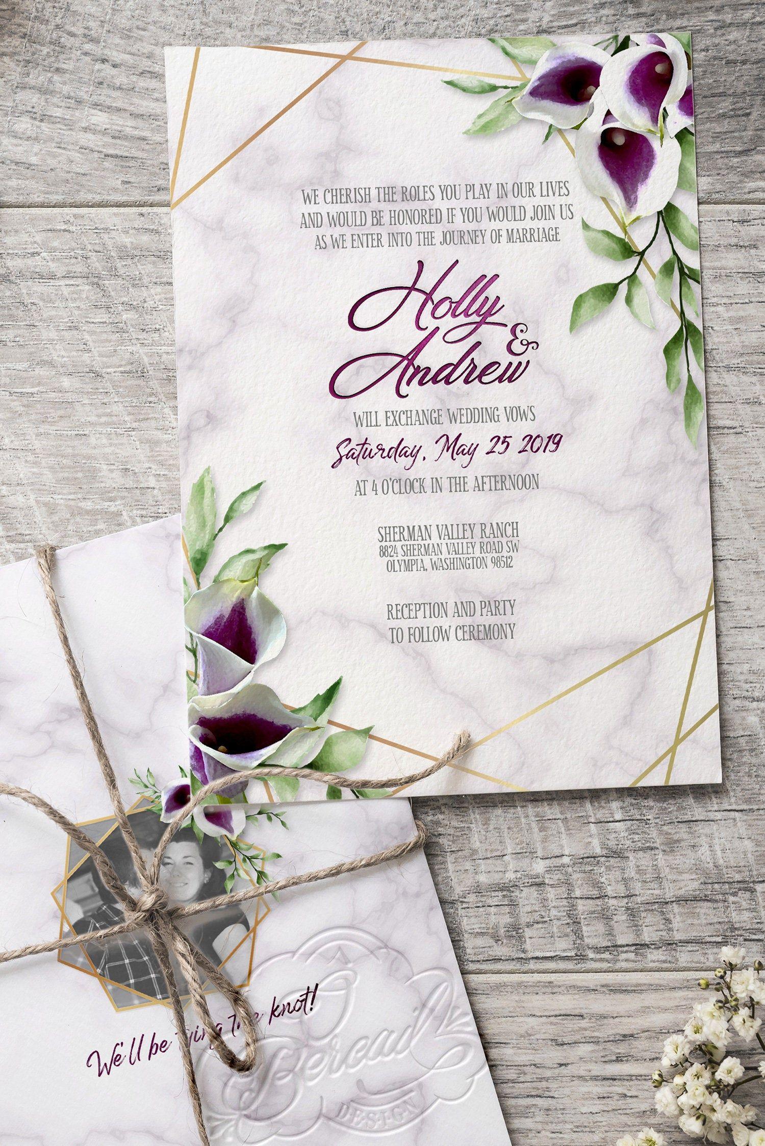 Printable Purple Calla Lily Wedding Invitation With Gold Geometric