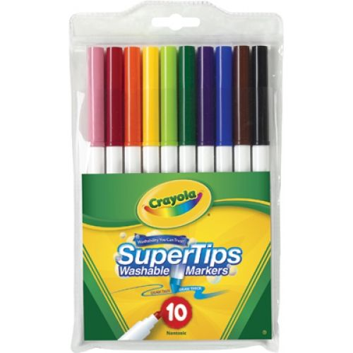 Washable Super Tips Fine Line Markers, Crayola®, 10 Colors ...