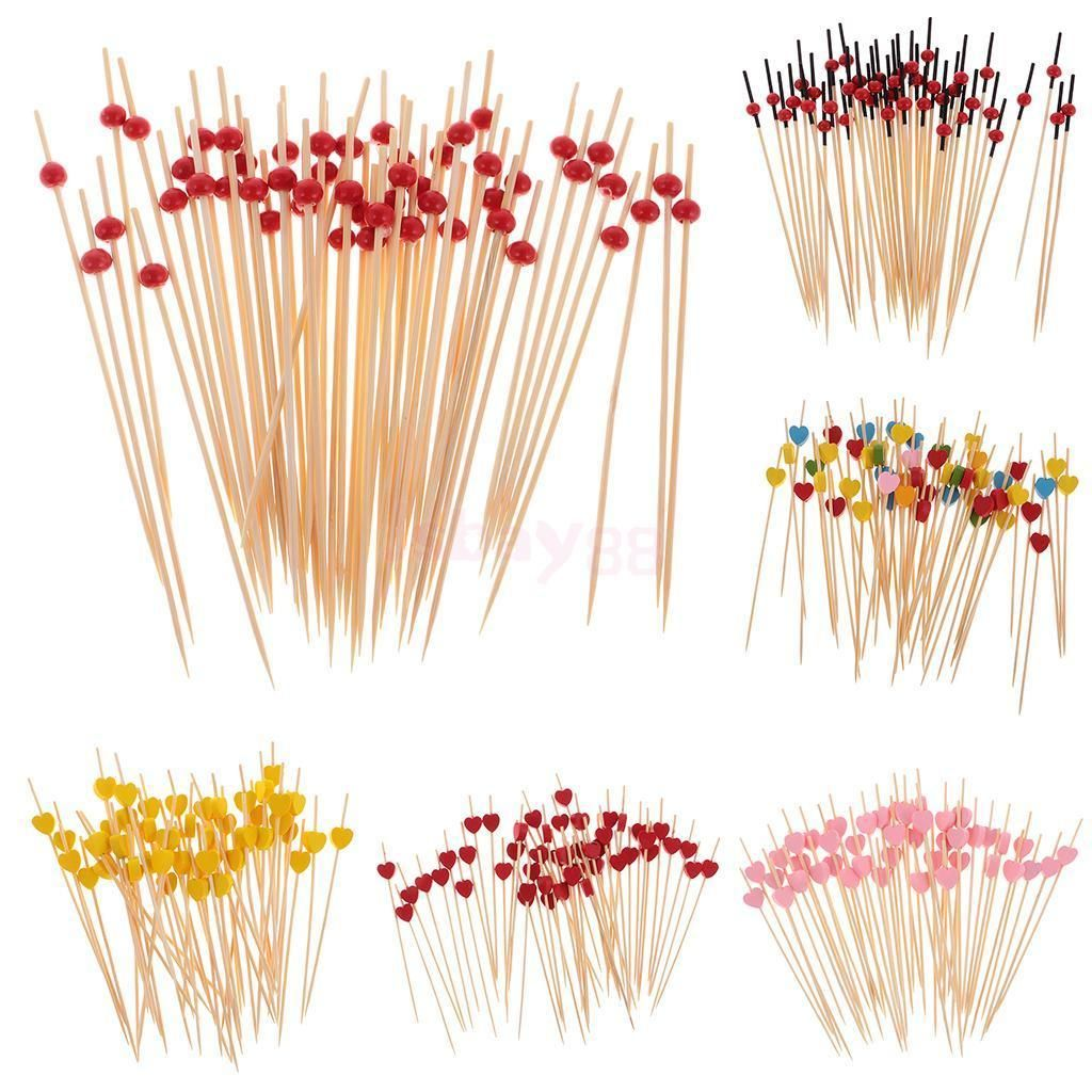 100 pcs Bamboo Cocktail Sticks Fruit Picks Wedding Party Drink Decor Disposable