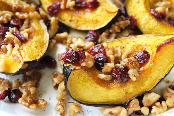Roasted Acorn Squash Recipe With Walnuts And Cranberries Recipe Acorn Squash Recipes Squash Recipes Recipes