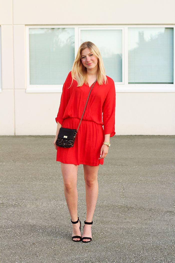 Zara red dress fashion