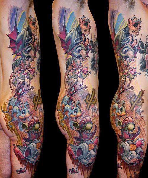 """f020dd39c We would fully support a reboot of Hanna-Barbera's """"Wacky Races"""" featuring  the characters in this tattoo by Jesse Smith #InkedMagazine #tattoo #tattoos  ..."""
