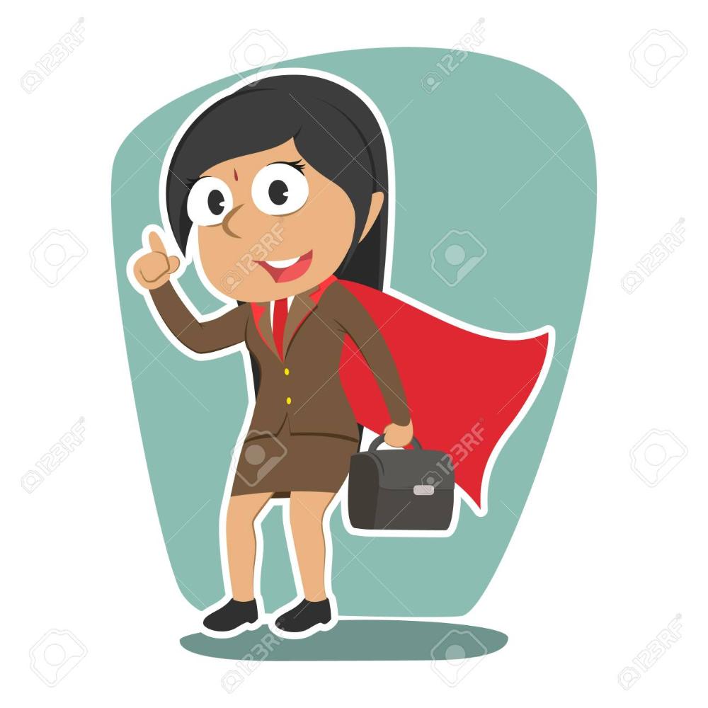 Super Indian Businesswoman Illustration Vector Superhero Cartoon Female Superhero Illustration