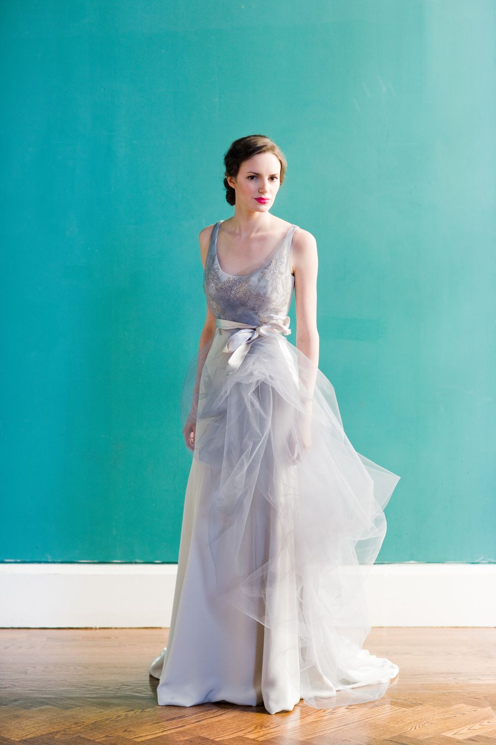 4-ply crepe trumpet gown with crystal embellishment, tulle overlay ...