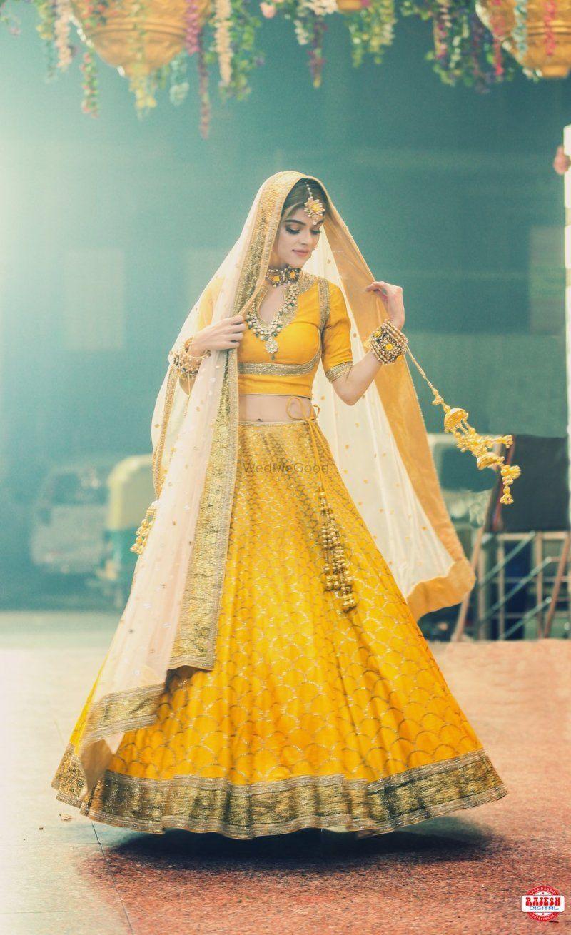 Offbeat bridal lehenga in yellow colour haldi pinterest bridal