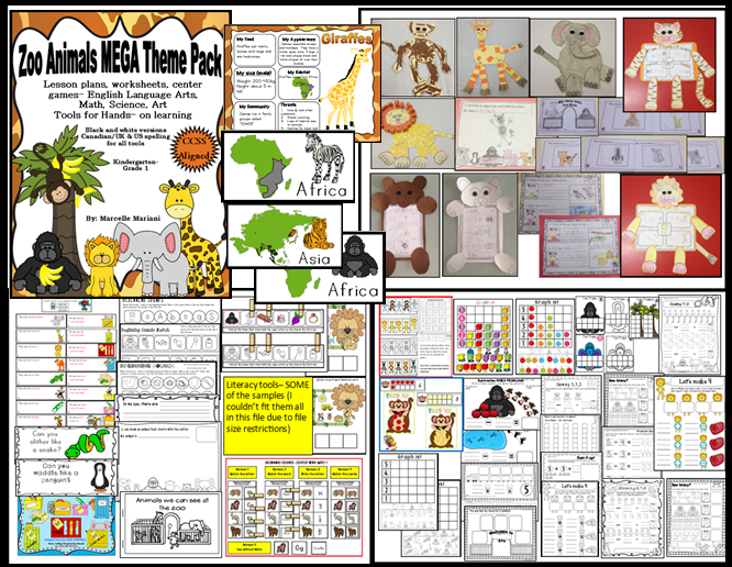 Zoo Animals Mega Theme Pack Lesson Plans Literacy Math Science