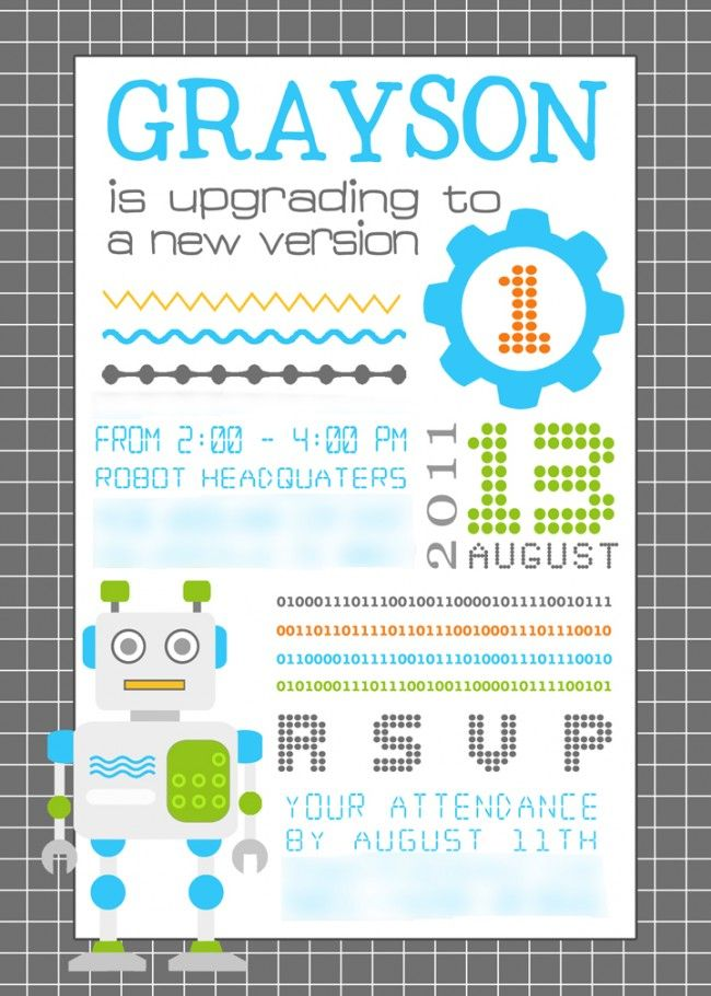 Robot birthday invitation upgrading to version 10 or 20 or filmwisefo Images
