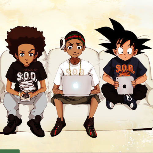 Dbz Meets Boondocks Via Rains World Black Anime Characters Cartoon Art Black Cartoon