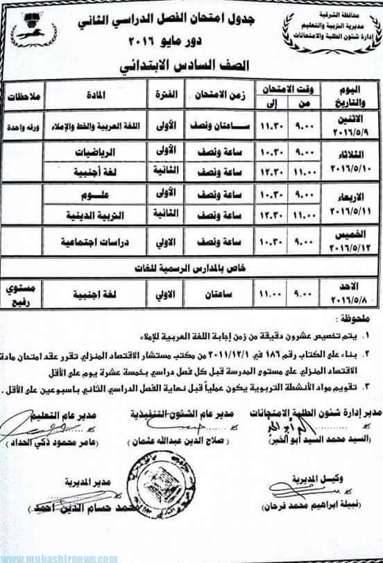 امتحانات الشرقية 2016 جدول امتحان الشهادة الابتدائية 2016 الترم الثاني الصف السادس الإبتدائي R 11 Boarding Pass