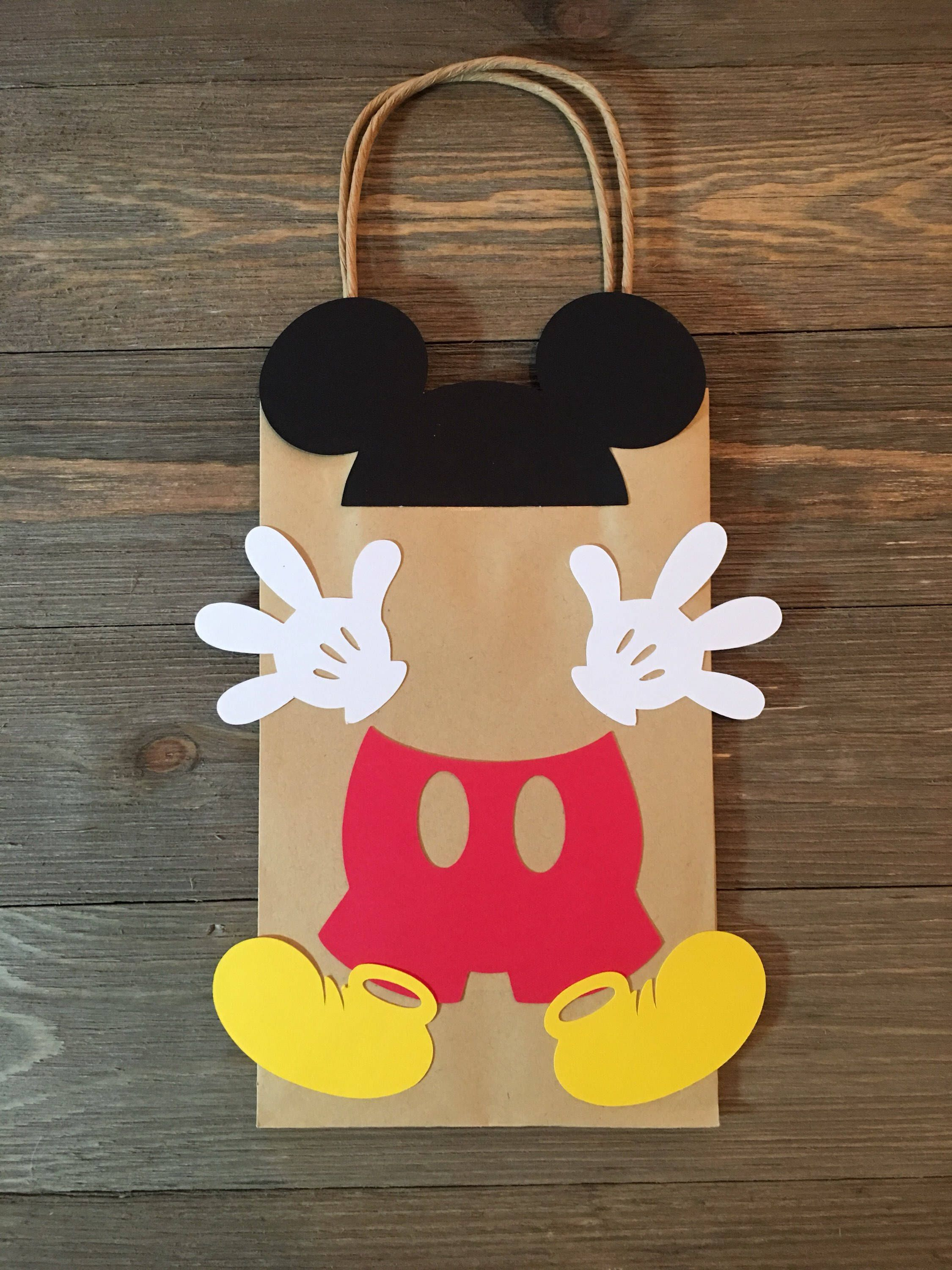 Mickey Mouse Birthday Bag, Mickey Mouse Birthday Party Favor Treat Bags, Mickey Mouse Birthday Party Gift Bags, Mickey Mouse Party Bags #mickeymousebirthdaypartyideas1st