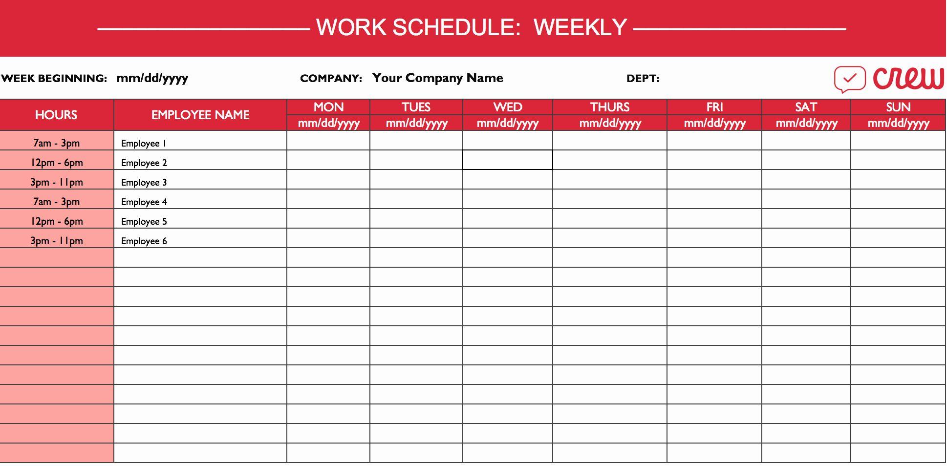 Work Schedule Template Free Best Of Weekly Work Schedule Template I Crew In 2020 Monthly Schedule Template Daily Schedule Template Schedule Templates