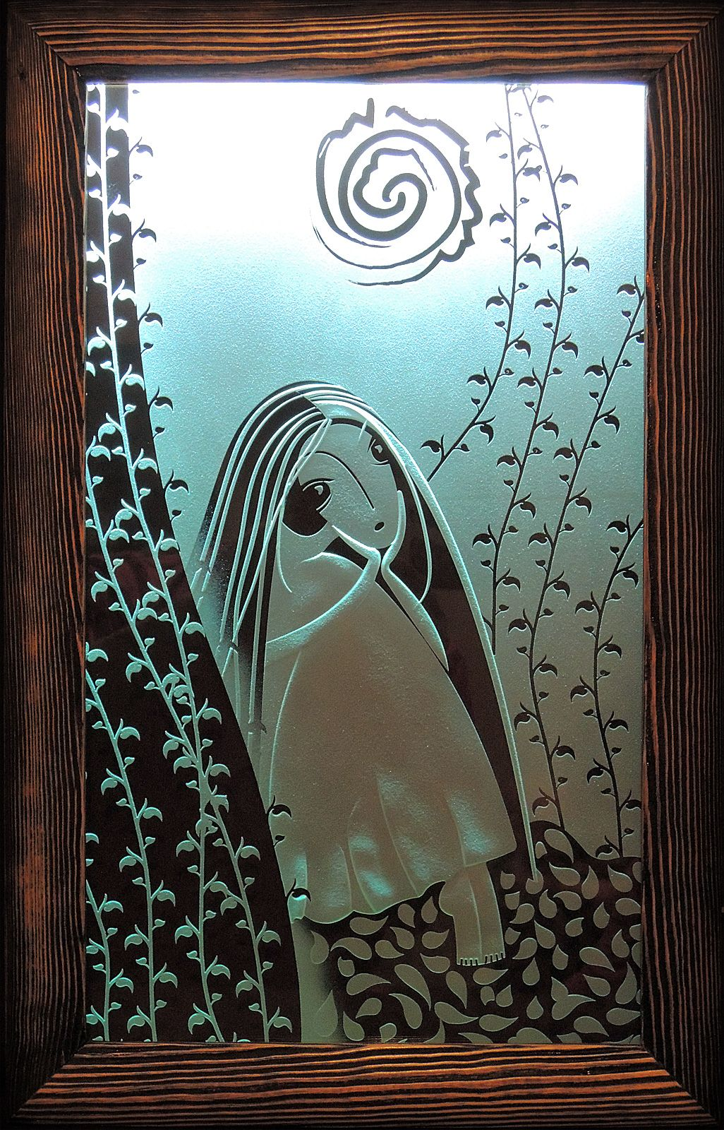 Melancholy. Glass picture with lights. Deep multilevel sandblasting glass. * by cartonus.com