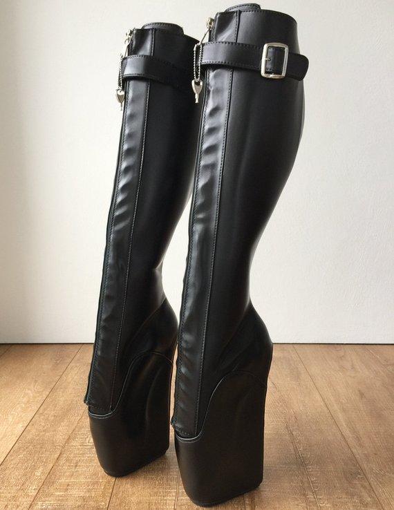 a6b14cb5718 RTBU OWEN Ballet Wedge Training Boot Hoof Heelless Zip Strap Black Matte