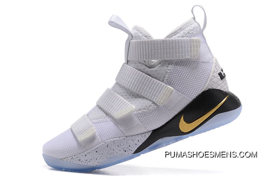 bfd35bb87bb Mens Nike Lebron Soldier 11 Sfg Court General White Metallic Gold-Black  897644-101 Online
