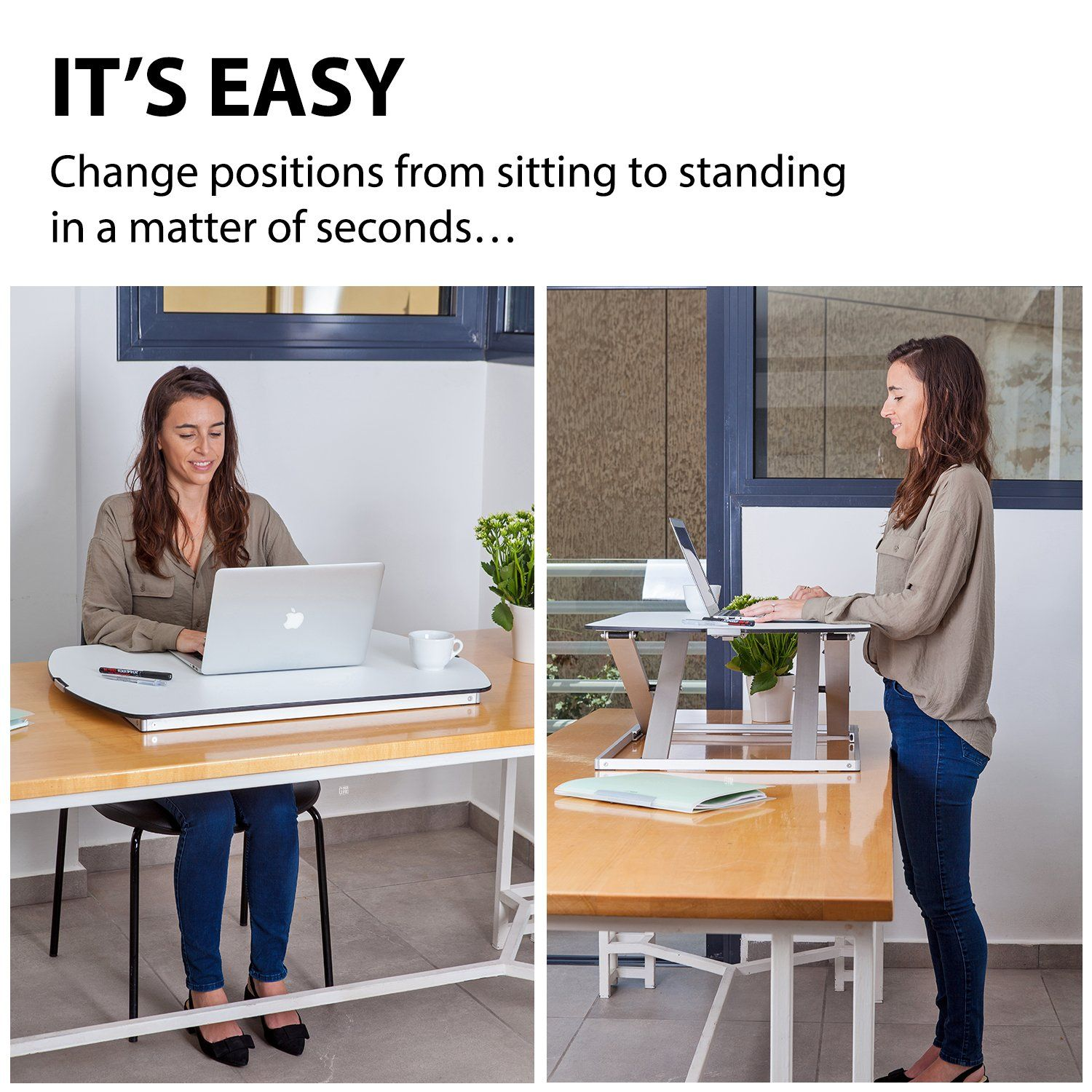 Adjustable Standing Desk Converter By G Pack Pro Slim Elite Height Adjustable Sit Stand Lift Office Computer Workspace With Gas Spring Riser Workstation For Sit Stand Black 32 Adjustable Standing Desk Converter Best