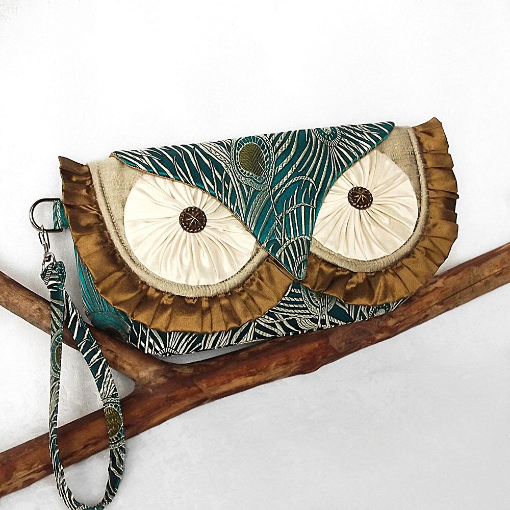 Silk Owl Clutch Wristlet - Peacock Feathers Brocade and Silk Dupioni - MADE TO ORDER. $99.00, via Etsy.