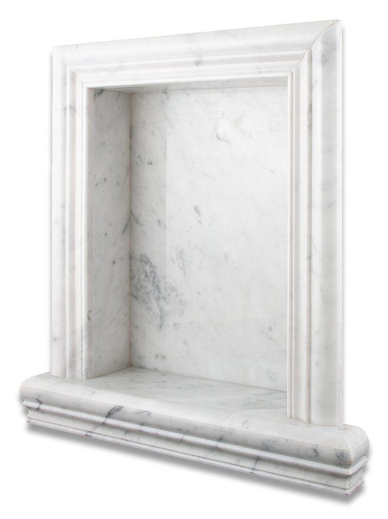 Carrara white marble hand made custom shampoo niche for Marble bathroom shelf