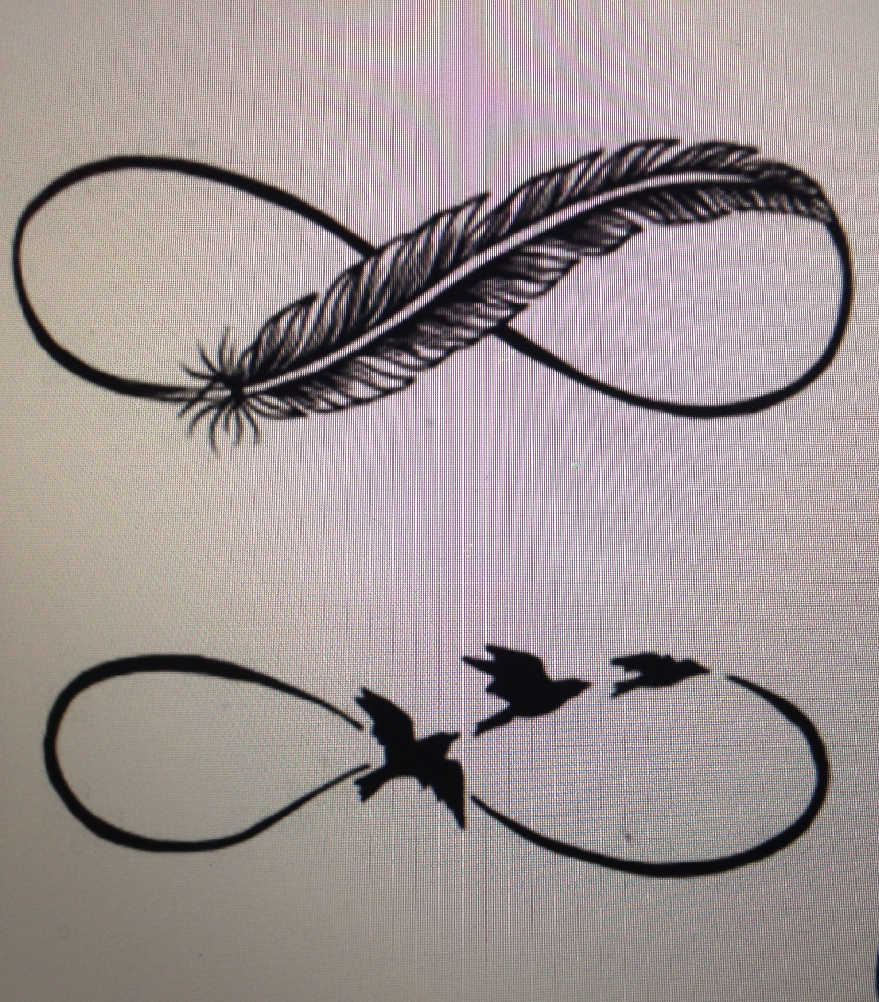 Infinity feather or birds | Words - Infinity tattoo with ...
