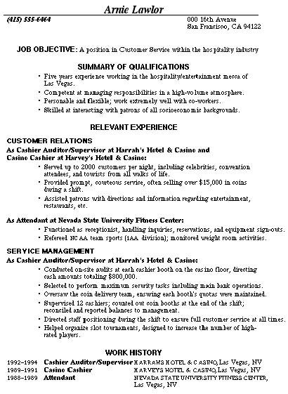 Sample Resume For A Restaurant Job -    wwwresumecareerinfo - customer service resume templates free