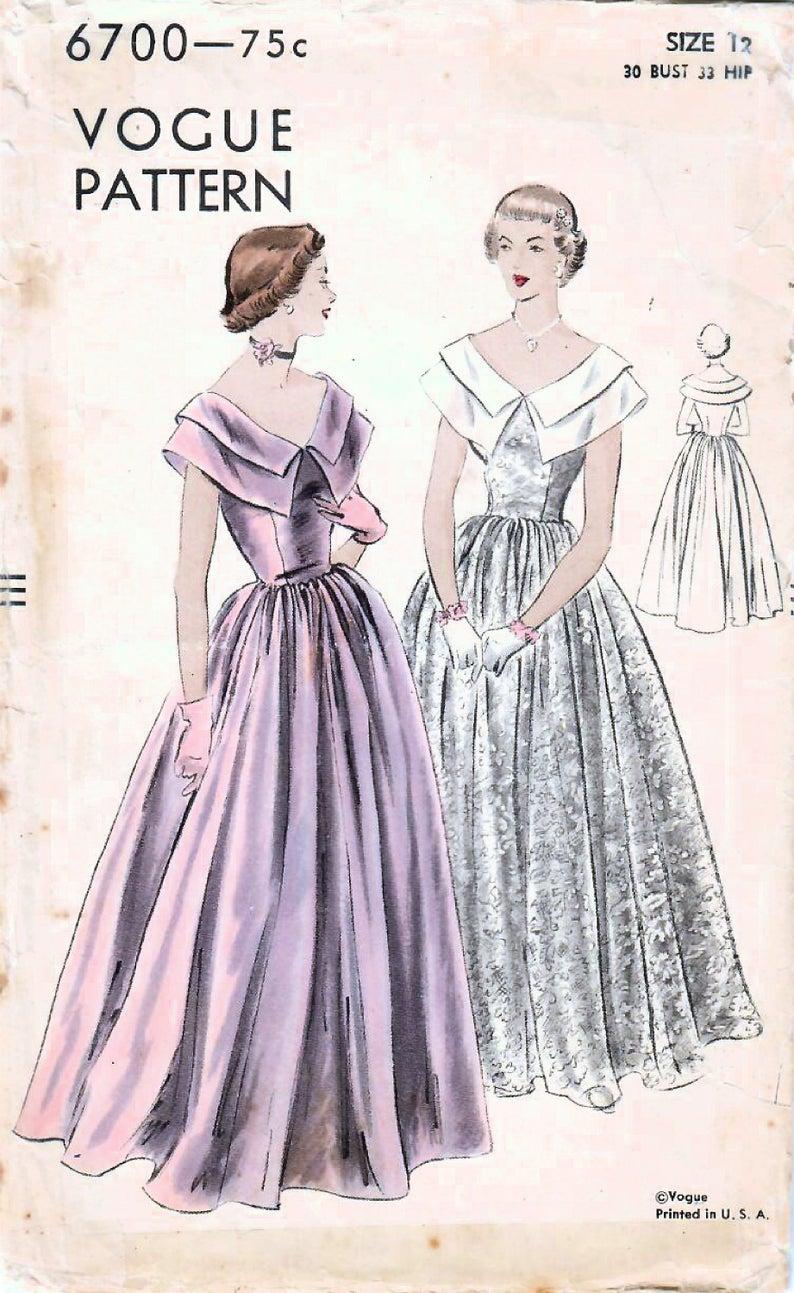 1940s Vogue 6700 Vintage Sewing Pattern Misses Formal Dress Etsy Evening Gown Pattern Vintage Evening Gowns Gown Pattern [ 1293 x 794 Pixel ]