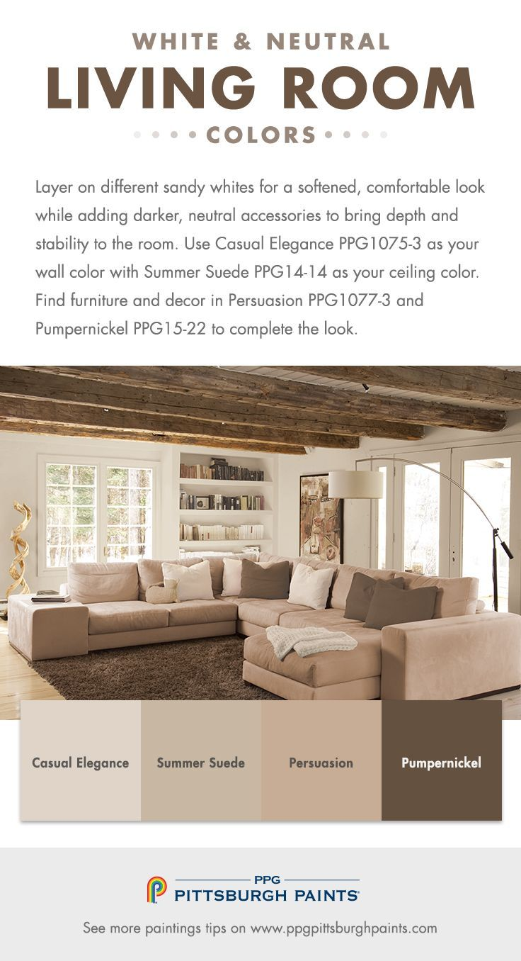 White & Neutral Paint Colors for Living Rooms by PPG Pittsburgh ...