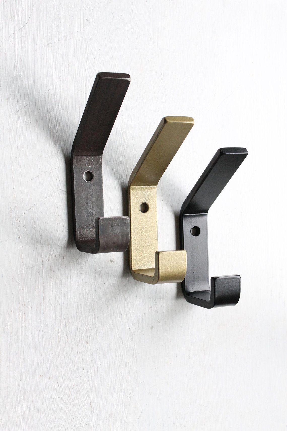 Double wall hooks modern farmhouse hook metal black or