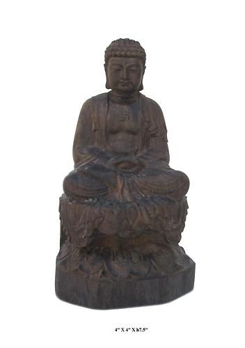 Agarwood is famous for its distinctive fragrance and It is commonly used in religious items.   This Buddha statue is made of agarwood and carved in a round with detailed graphic.    This is a nice prayer's item and also collectable.