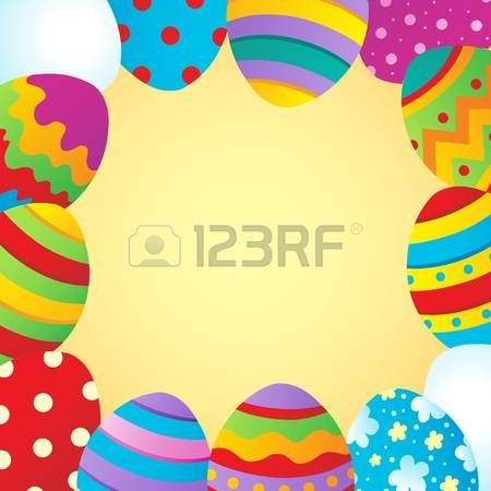 Marco con tema de Pascua. Ilustración vectorial.