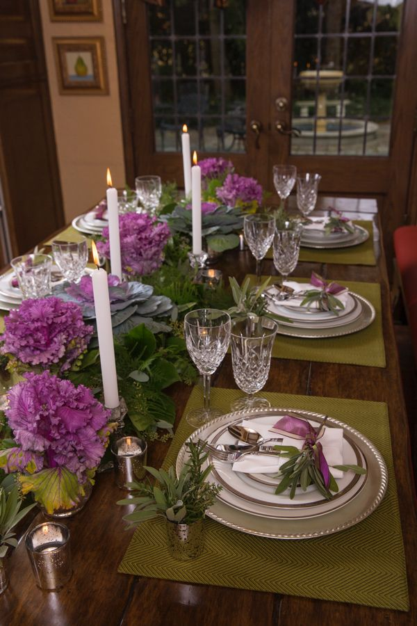 Edible Ornamental Themed Thanksgiving Tablescape Pop A Little Purple Into Your Holiday With Some Ornamen Ornamental Cabbage Rose Cottage Flower Arrangements