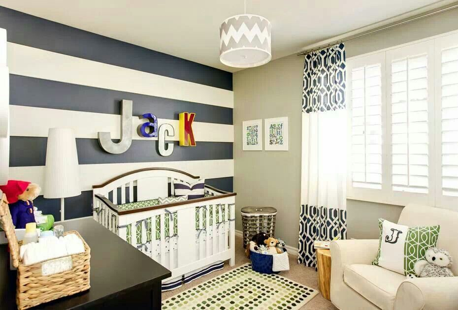 Love Love Love Blue Kids Room Baby Boy Rooms Striped Nursery