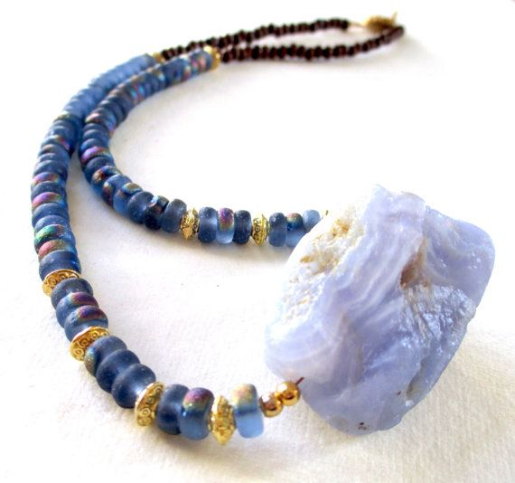 Blue Lace Agate Necklace by guarnaccia on Etsy