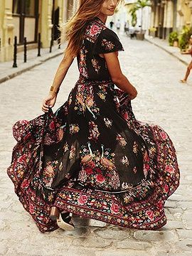 323aac0ffe0 Shop Multicolor V-neck Floral And Peacock Print Cap Sleeve Maxi Dress from  choies.com .Free shipping Worldwide.$18.89
