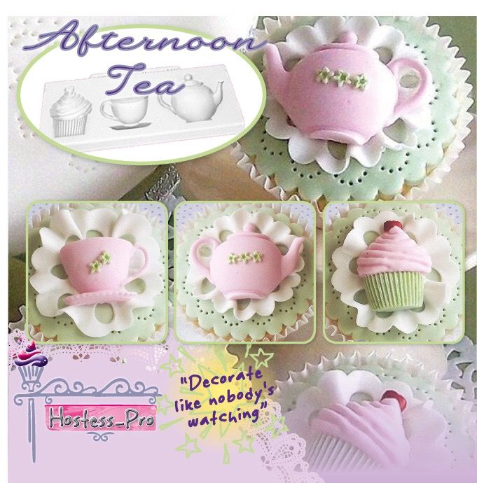 Afternoon Tea Silicone Mould  Buy Now Online www.hostesspro.co.za Follow up on Facebook https://www.facebook.com/hostesspro.co.za #‎siliconemoulds‬ ‪#‎cakedecorating‬ ‪#‎sugarcraft‬ ‪