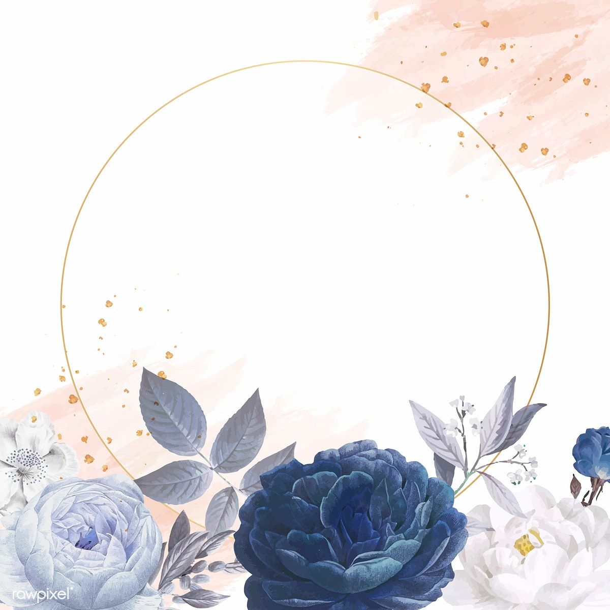 Blue Roses Themed Card Template Vector Free Image By Rawpixel