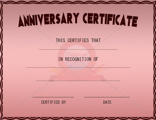 Anniversary certificate anniversary certificate for Work anniversary certificate templates