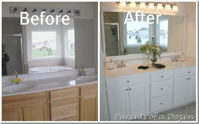 Parents Of A Dozen How To Paint Cabinets Bathroom Cabinet Makeover Painting Bathroom Cabinets Bathroom Makeover