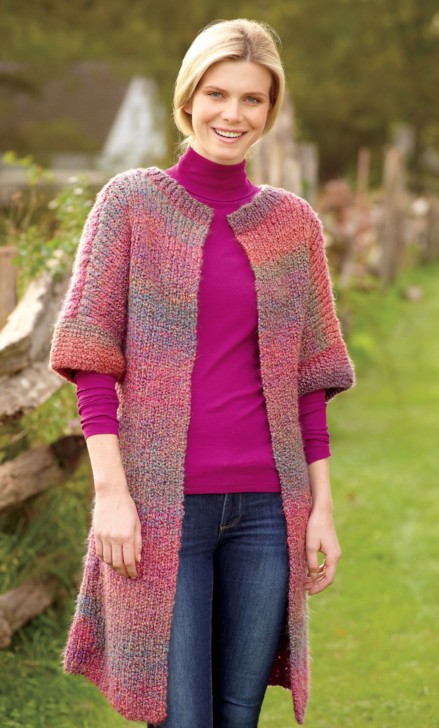 Long & Lean Jacket in Lion Brand Homespun - 70640B | Knitting ...