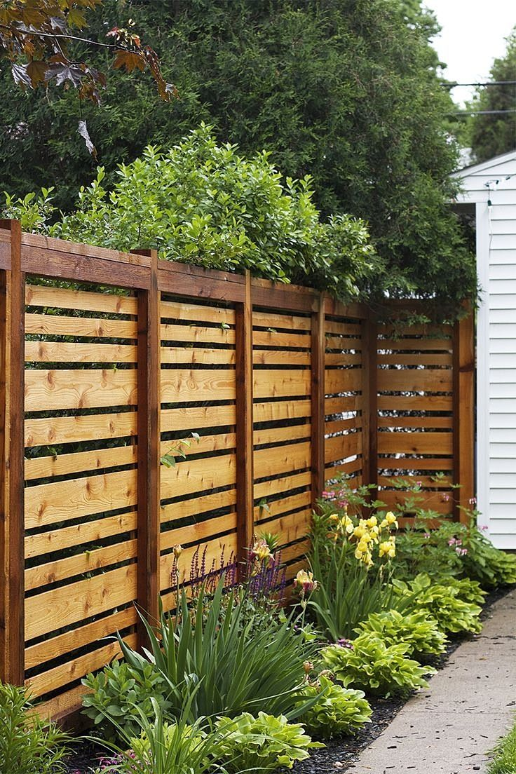 Exterior. Traditional outdoor privacy design ideas, bold plank hole ...