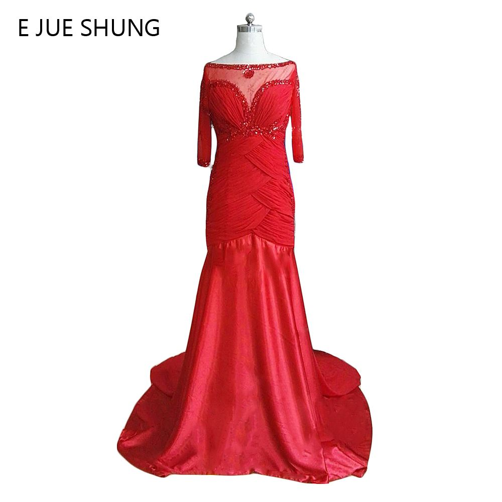 >> Click to Buy << E JUE SHUNG Red Chiffon Beaded Evening Dresses Long 2017 Half Sleeves Mother of the Bride Dresses Evening gown Formal Dresses #Affiliate