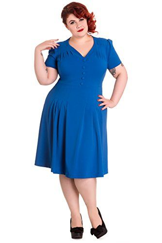 Hell Bunny Plus Size 40s Vintage Style Office Lady Moira Tea Dress