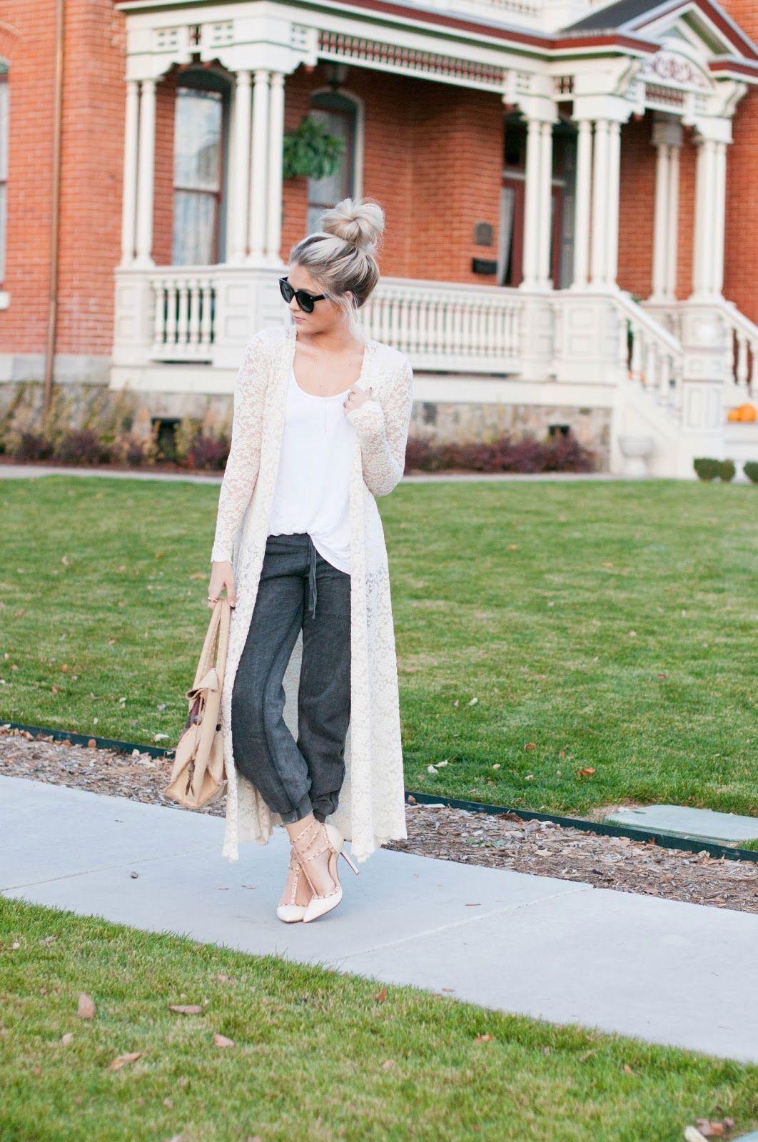 Cara Loren in ShopRiffraff's Cream Long Lace Kimono Cardigan ...
