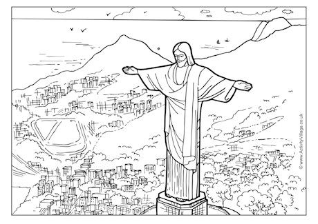 brazil coloring pages BRAZIL   Christ the Redeemer, coloring page PDF | Holidays UNIT  brazil coloring pages