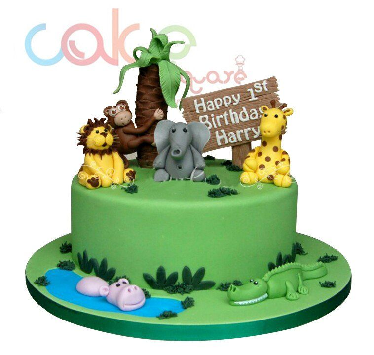 Odc141 Jungle Themed 1st Birthday 1kg Designer Cakes In 2018