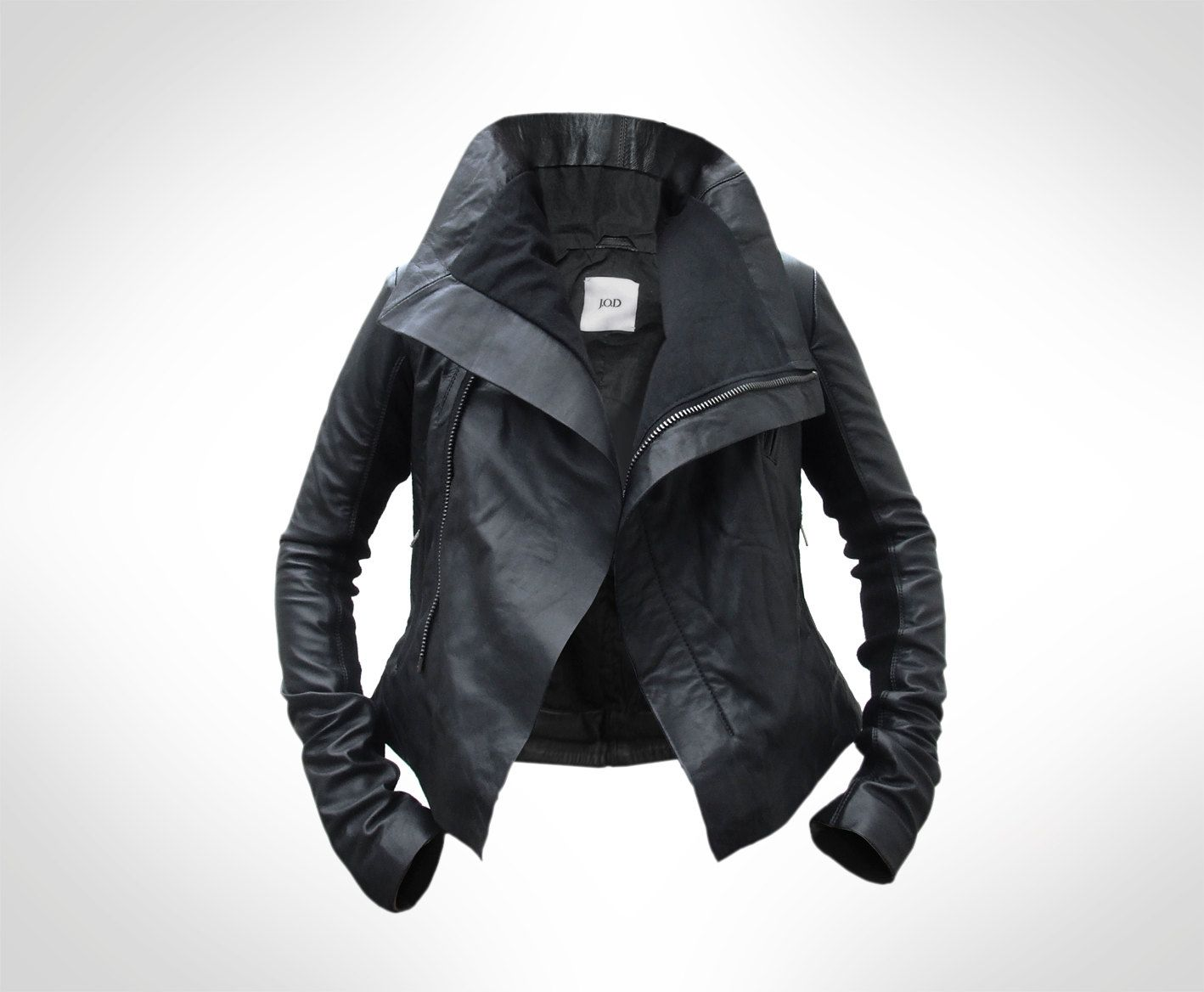 Womens Black Leather Biker Jacket by J.O.D UK8. €215,00, via Etsy ...