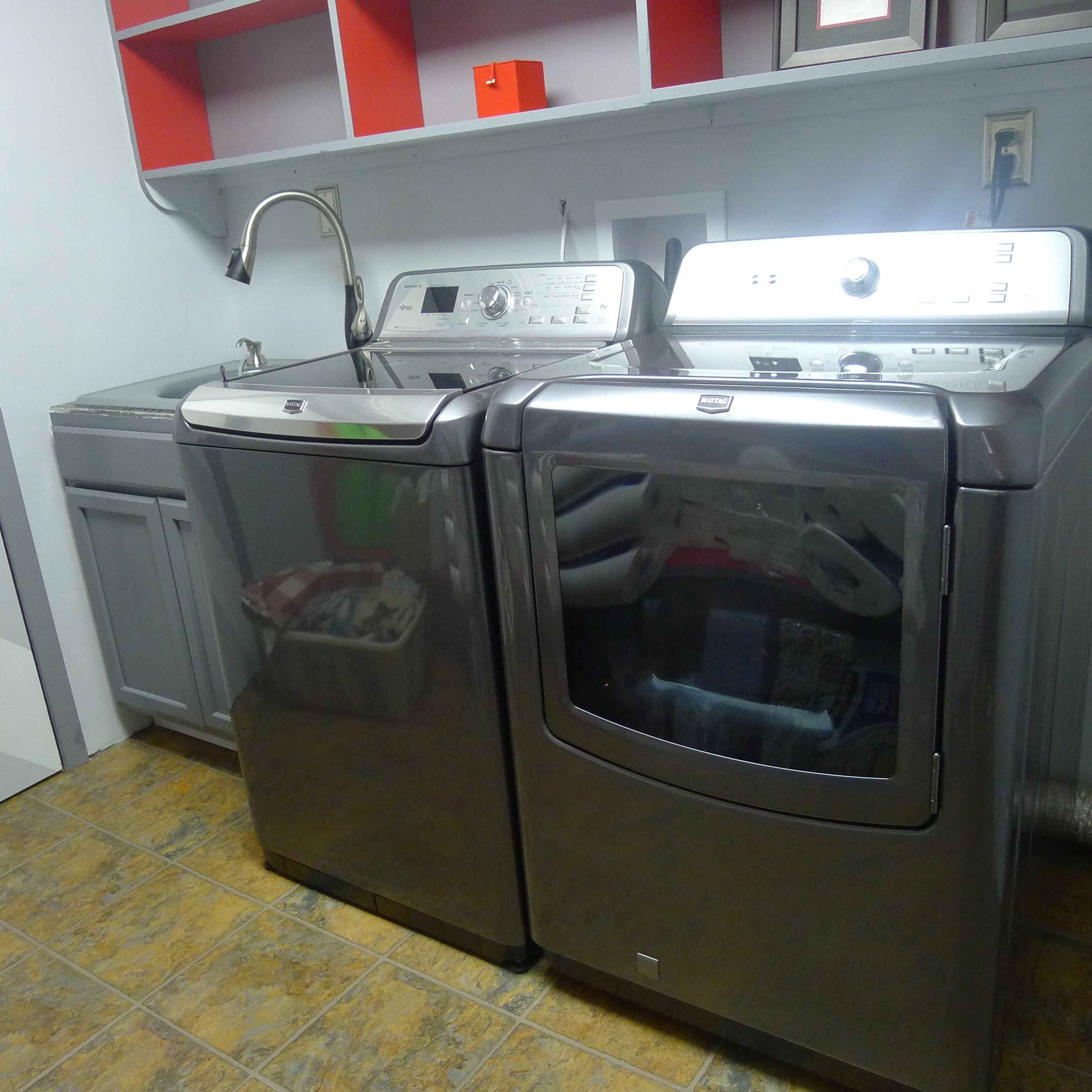 This Maytag Washer And Dryer In Charcoal Gray Set The