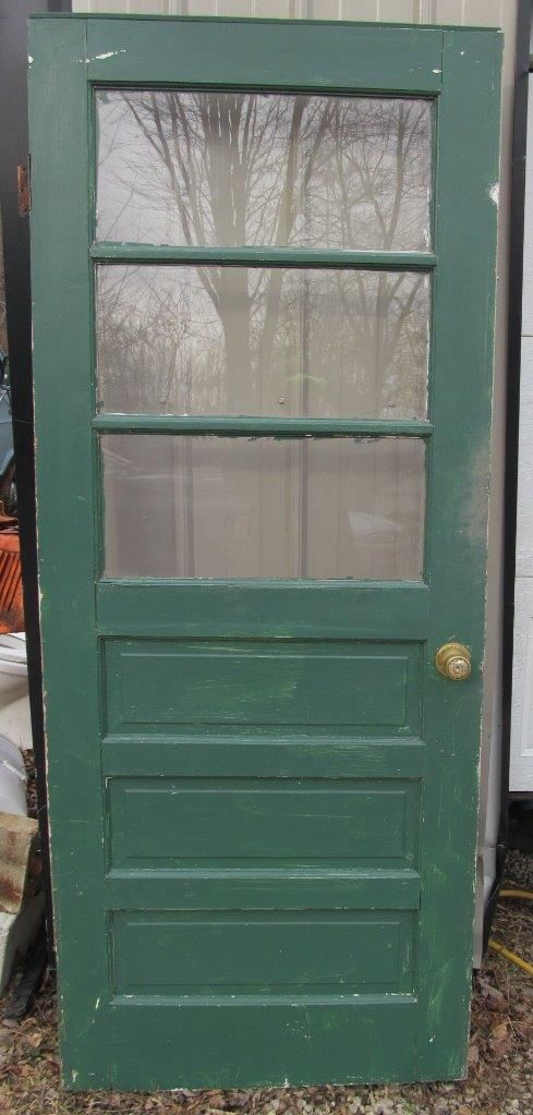 Vintage 3 Panel Glass Farm Exterior Door 79 X 32 Farming Garden