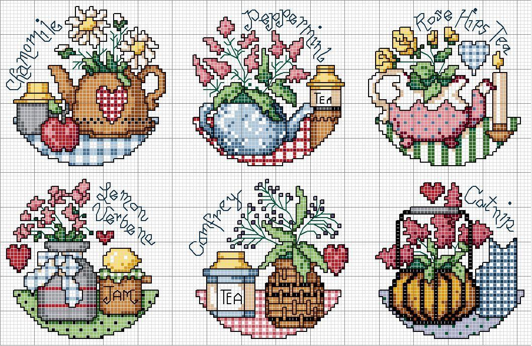 Schema punto croce Teapot Herbs | Punto de cruz | Pinterest | Punto ...