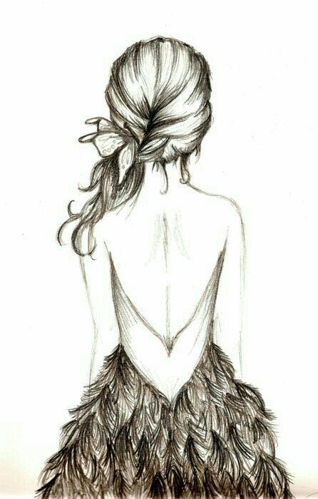 Chica De Espalda Con Vestido De Plumas Dibujos A Lapiz