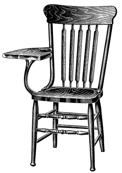 Vintage School Clipart Wooden Tablet Arm Chair Black And White Graphics Free Digital Stamp Old Fashioned Illustration